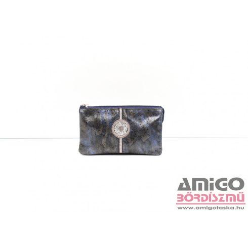 Lewitzky sötétkék / barna / mintás swarovski körköves tripla cipzáras női bőr pénztárca